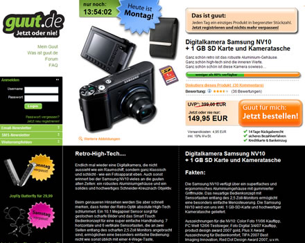guut.de, wie es usprünglich aussah: Ein Tag - Ein Produkt!